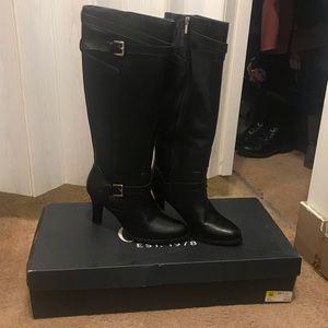 Women's black high heel boots